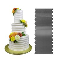 Baking Moulds 2-Side Stripe Stainless Steel Scraper Cake Spatulas Butter Cream Smoother Comb Decorating Tools Supplies