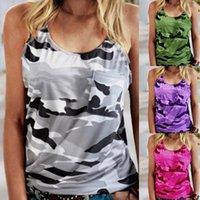 Women's Tanks & Camis Summer Women Print Top Fashion Casual Army Camo Camouflage Tank Sleeveless O-neck Slim T-Shirts Plus Size S-3XL