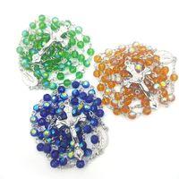 Colliers de prière de Jésus Classique Croix Pendentif Chains Cuker Crystal Perles Perles Rosaire Neckalce Mode Bijoux pour Dame