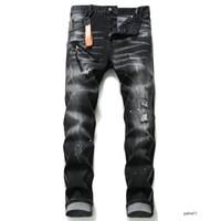 dsquared2 jeans dsq d2 الرجال جينز الرجال وقع جان الجينز مزقت الإمتداد الأسود جينز أزياء صالح سليم غسلها موتوكيكلي سروال جينز نصب منصة بنطلون الهيب هوب B6