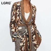 Women's Suits & Blazers [LGRQ] Women Printing Lace Casual Blazer Shawl Collar Long Sleeve Loose Fit Jacket Fashion Tide Spring Autumn 2021 1