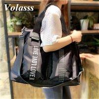 Volasss Moda Totes para Mulheres Nylon Saco de Viagem Grande Capacidade Meninas Sacos de Ombro Feminino Esporte Outdoor Black Handbags 2021 Duffel
