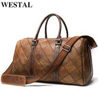Westal Leder Duffle Bag Herren Reisetasche Leder Vintage Wochenende Tasche Herren Reisetaschen Echtes Leder Gepäck / Übernachtung Tote LJ200921