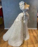 Luxury One Shoulder Mermaid Wedding Dress With Detachable Train Sequined Beaded Bridal Gowns Flower Appliqued Robe de mariée