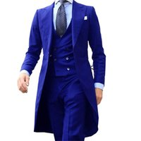 Royal Blue Long Tail Coat 3 Piece Tuxedos Gentleman Man Suits Male Fashion Groom Tuxedo for Wedding Prom Jacket Waistcoat with Pants