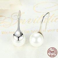 Bamoer 925 Sterling Sterling Sterling Elegant Pure Love Love Perlet Boucles d'oreilles pour femmes Bijoux Brincos Blanc, Noir Violet Pink Sce037 629 B3