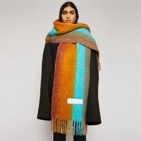 Scarves Women Striped Patchwork Cashmere Scarf Winter Thick Soft Long Tassel Ac Pashmina Shawls Ladies Girls Brand Warm