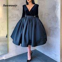 Navy Blue evening dress short V Neck Long sleeve Prom Gowns Velvet Satin abiye party dresses avondjurk