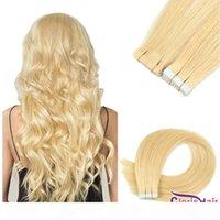 # 24 ruban adhésif blonde naturel dans les extensions adhésifs de cheveux humains épaisses vrais cheveux brésiliens 20pcs machine remy soyeux soyeux sans soudure de peau de peau