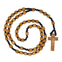 Cubo de madera Rosario Beads Inri Jesús Cross Collares Collares Católica Cristiana Moda Joyería religiosa