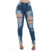 Delik Yüksek Bel Bayan Kot Ince Nedensel Seksi Kadın Tasarımcı Kalem Pantolon Sıcak Satmak Mavi Giyim