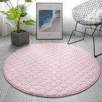 Carpets Living Room Carpet Modern Fashion Thick Coral Velvet Round Basket Yoga Tent Bedroom Bedside Computer Chair Mat Pink Rugs