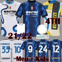 22 22 Lukaku Lautaro четвертый 4-й футбол Джерси де Vrij Vidal Barella Milan Eriksen Футбольная рубашка Inter 2021 2022 с длинным рукавом Hakimi Gagliardini Men Kids Kit