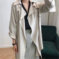 Trench Coat for Women Spring Thin Mid Long Cardigan Mujer con fajas Moda Solapa suelta Manga larga Outwear recta DS8066