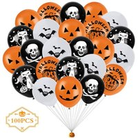 Decoraciones de Halloween Globos Decoración de fiesta 100pcs / Bolsa Skull Calabaza Látex Halloween Globo Home Shop Ventana Adorno Suministros XD24773
