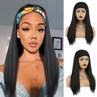 Afro Yaki Straight Headband Wigs For Black Women Synthetic S...