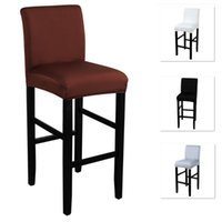Elastic Chair Cover For Bar Stool Short Back Dining Room Slipcover Spandex Stretch Case Chairs Banquet Wedding Covers