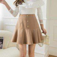 Skirts Women Summer Solid Basic Button Folds Slim Skirt Female A Line Zipper High Waist Buttocks Casual Mini Femme