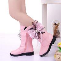 Stivali invernali per bambini per ragazze Flower Flower Fashion Peluche Principessa Appartamenti Scarpe Black Red Snow Boot KS544 210830