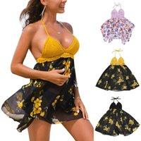 Women's Swimwear Summer Swimsuit Sexy Two Piece Feminine Bikinis Mesh Dress Gauze Beach Halter Floral Printed Bathing Set