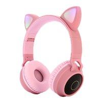 قاد القط الأذن سماعات لاسلكية بلوتوث 5.0 الشباب سماعة يدعم بطاقة TF بطاقة 3.5 ملليمتر مقابس مع ميكروفون مع مربع التجزئة