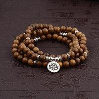 Beaded, Strands 108 Natural Wood Beads Bracelet Lotus 3D Buddha Pendant Yoga Healing Meditation Prayer Hand String Dropsship