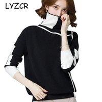 Lyzcr Осенняя зима женская пэчворк-пакетулительница свитер для женщин Толстые теплые камни пуловерные свитера женские Женские джемпер 2020