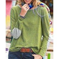 Bischan Frühling Herbst Streifen Drucken Rundhalsausschnitt Lose Einfache Hemd Top Frauen Langarm Pullover Übergroße Hemd Bluse 210603