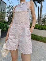La plupart des nouveaux rompues de mode Femmes Street Street Luxe Jumpsuits Printemps de haute qualité Essentiel pour les fêtes de voyage Vélo de damier Denim