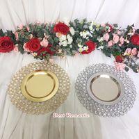 10 teile / los Gold / Silber Kristall Metalllader Gerichte / Platten mit 3 Schichten Perlen für Hochzeitstisch Home Decoration