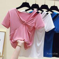 Women's T-Shirt 2021 Summer Slim-Fit Off-Shoulder T Shirt Korean-Style Hollow Short Sleeve V-neck All-Matching T-shirts Small Tops