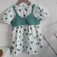 Summer Light Dresses Two-Piece Heart-Shaped Print Dress For Girls Kids Clothes Ggirls Clothing Sets Children