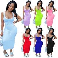 Casual Elbiseler Yaz Kolsuz Kafesiz Katı Renk Dikiş Yelek Elbise Uzun Etek Gece Kulübü kadının Giyim Artı Boyutu S / M / L / XL / 2XL Pembe