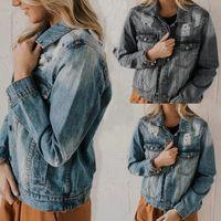 Kadın kot ceketler üreticileri isteme Amazon satış ms jean ceket deliği show ince kovboy ceket