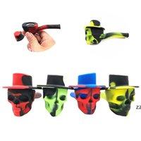 4 colores Silicone Pipes Fumadores Creativo Skull Forma Camuflaje Filtro Soporte de cigarrillo Portátil Accesorios para tabaco HWA7309