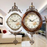 Wall Clocks European Wooden Large Guess Women Watch Mechanism Decor Clock Silent Quartz Movement Art Relogio Parede Gift 5ZB052