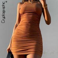 Kriptografik Rahat Dantelli Mini Elbiseler Kadınlar Için 2021 Moda Kulübü Parti Sleevelss Katı Yaz Elbise Bodycon Zarif Giysi