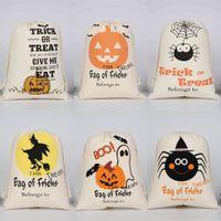 2021 هالوين الأطفال الحلوى هدية أكياس الرباط القطن الكرتون اليقطين شبح خطابات المطبوعة حزمة جيوب رسم سلسلة حقيبة للأطفال G89VHRK
