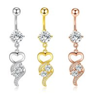 Surgical Steel Zircon Pendant Belly Button Rings Sexy Navel Bars Crystal Body Piercing Ring Jewelry