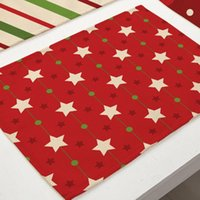 Mats & Pads Christmas Tree Snowflake Cotton Linen Pad Dining Table Bowl Cup Mat Pattern Kitchen Placemat Home Decor