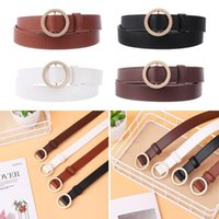 Belts Shorts Jeans Casual Dress Fashion O Ring All-Match Women's Leather Belt Gold Silver Round Buckle