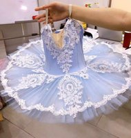Sky Blue Ballet Dress For Girls Child Adults Women Lace Tutu Swan Dance Costumes Professional Adult Ballerina Party Kids Stage Wear