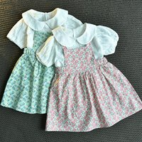 Clothing Sets Easter 2021 Summer Short-sleeve Girls Suspender Dress Baby Floral Skirt Two-piece Suit Kids Casual 2-6 Years Old