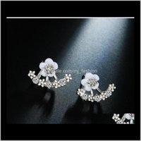 Jewelryhigh Quality Anti Allergic Pure Jewelry S 925 Sterling Sier Daisy Flower Front And Back Two Sided Stud Earrings Ear Nail 1567 Drop Del