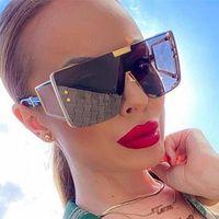 2021 Yeni Lüks Kare Güneş Gözlüğü Kadınlar Için Büyük Çerçeve Degrade Tonları Eğilim Yeşil Güneş Gözlüğü Erkek Marka Tasarımcısı Vintage Gözlük