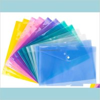 لوازم الإيداع منتجات المدارس مكتب الأعمال الصناعية 4 اللون A4 أكياس ملف وثيقة مع زر المفاجئة مغلفات شفافة Plas