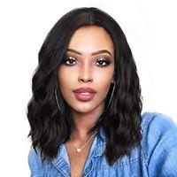 레이스 프런트 가발 아프리카 여성 블랙 13 인치 중간 부분 일일 가짜 머리 웨이브에 대 한 작은 합성 가발