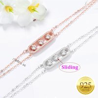 Women 925 Sterling Silver Charm Bracelet Sliding 3 Bead Geometric Cubic Zirconia Double Layers Chains Adjustable Friendship Birthday Gift