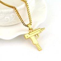 الذهب سلسلة الهيب هوب الطويل قلادة قلادة الرجال النساء أزياء ماركة بندقية شكل مسدس المعلقات ماكسي القلائد الهيب هوب المجوهرات