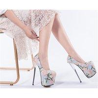 Yüksek topuk sonbahar kalın tabanlı stiletto 19 cm sığ ağız pas kadın kadın parti ayakkabı 210417